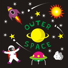 outer space elements vector isolated on dark background