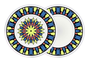 Set of 2 matching decorative plates for interior design. Tribal ethnic ornament with mandala. Home decor vector illustration.
