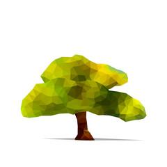 Tree low poly style. Geometric poligonal illustration. Vector design element.