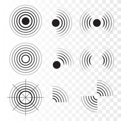 Set of radar icons. Sonar sound waves. Vector