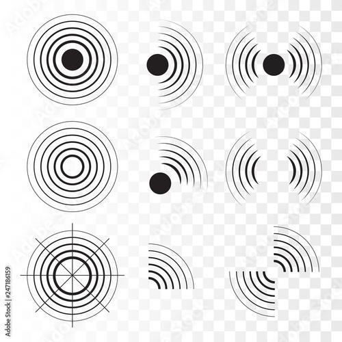 Set of radar icons  Sonar sound waves  Vector