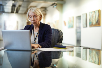 Portrait of mature businesswoman using laptop at workplace in modern gallery, copy space