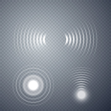 Set of glowing sonar waves. Vector illustration