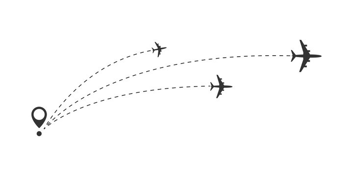 Airplane travel concept. Plane with start point and route dash line.