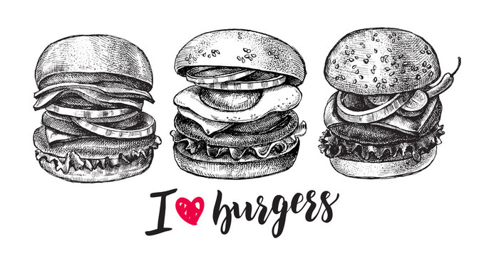 Ink hand drawn set of various burgers. Food elements collection. Vector illustration with brush calligraphy style lettering.