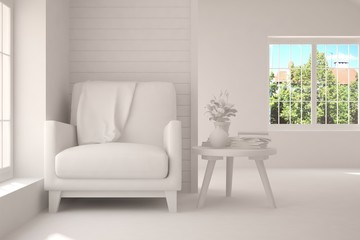 Stylish room in white color with armchair and green landscape in window. Scandinavian interior design. 3D illustration
