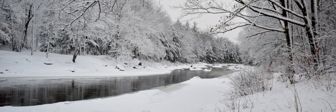 winter landscape with river and trees