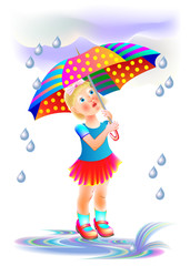 Illustration of cute little girl hiding from rain under umbrella. Book cover for children fairy tale. Vector cartoon image.