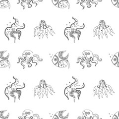 Vector hand drawn black and white seamless pattern, illustration of fish, octopus, starfishб squid with decorative geometrical elements, lines, dots. Line drawing. Graphic artistic design.
