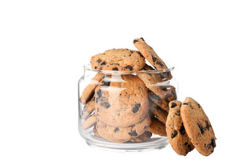 Glass jar with tasty chocolate chip cookies on white background