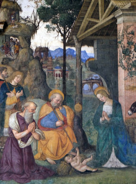 The fresco Nativity with the St. Jerome by Bernardino Pinturicchio (1488 - 1490) in Rovere chapel in Church of Santa Maria del Popolo, Rome, Italy
