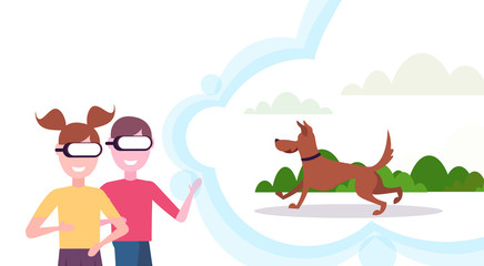 Two kids sister and brother wearing digital glasses virtual reality dog running and playing outdoor vr vision headset concept horizontal flat isolated