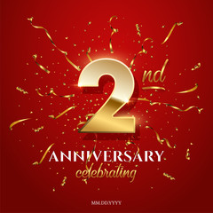 2 golden number and Anniversary Celebrating text with golden serpentine and confetti on red background. Vector second anniversary celebration event square template.
