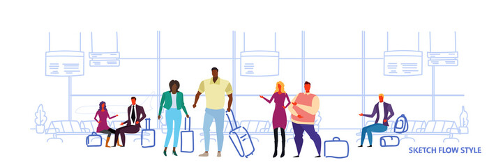 business people travelers standing in airport waiting hall departure lounge interior mix race passengers waiting with baggage sketch flow style horizontal