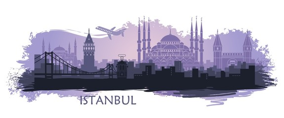 Landscape of the Turkish city of Istanbul. Abstract skyline with the main attractions Fotoväggar