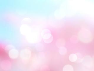 Pink blue blurred bokeh spring background.