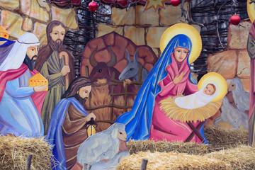 NIKOLAEV, UKRAINE - 23 December 2017: christmas nativity scene in the city park.