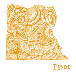 Textured vector map of Egypt. Hand drawn ethno pattern, tribal background.