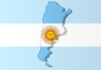Graphic illustration of an Argentinan flag with a contour of its borders