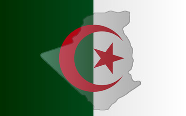 Graphic illustration of an Algerian flag with a contour of its borders