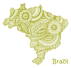 Textured vector map of Brazil. Hand drawn ethno pattern, tribal background.
