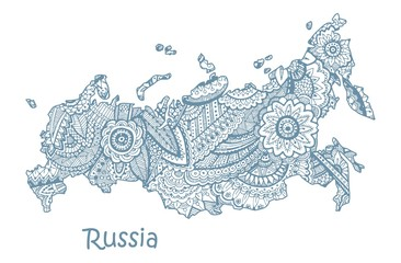 Textured vector map of Russia. Hand drawn ethno pattern, tribal background.