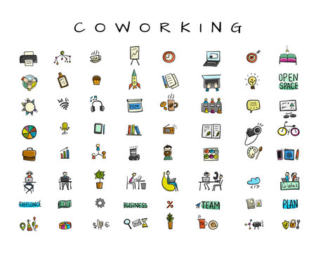 People in coworking office, icons set for your design