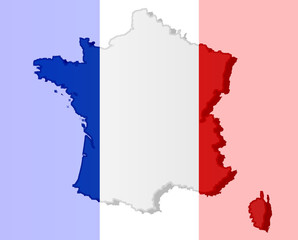 Graphic illustration of a French flag with a contour of its borders