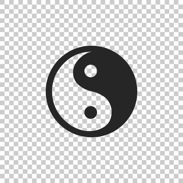 Yin Yang symbol of harmony and balance icon isolated on transparent background. Flat design. Vector Illustration