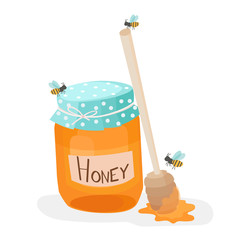 Vector illustration of a honey jar with wooden honey dipper and three little bees