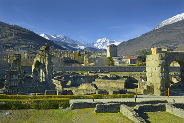 Aosta, Italy. Remains of Roman buildings in the old town of Aosta. On the Aosta has survived a number of important Roman monuments