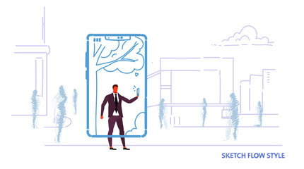 businessman using mobile application taking selfie photo online communication concept business man in smartphone screen cityscape background sketch flow style horizontal