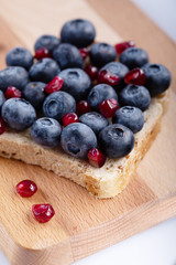 Fresh delicious homemade Sandwich with berry fruits