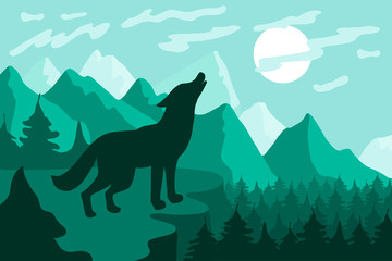 Landscape with wolf silhouette flat vector illustration