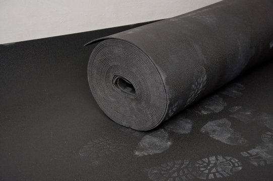Insulation used for sound insulation of the floor during construction. Soundproofing material.