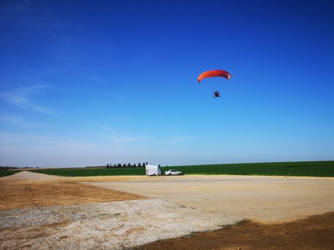 Parachute in the landing field