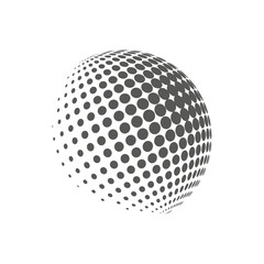 Earth logo - halftone sphere. Graphic elements for your design