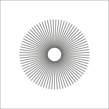 Radial lines abstract geometric element. Spokes, radiating stripes.