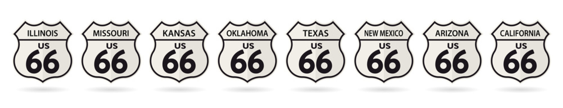 Shields of states crossed by the Historic US Route