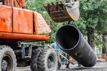 replacement of a sewer pipe deep under the ground