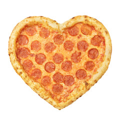 Pizza Pepperoni Heart shaped top view with mozzarella cheese, salami, template for your design and menu of restaurant, isolated white background. Valentine day pizza concept