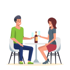 Young Couple in Romantic Date in Cafe. Two Lovers in Vacation have Romance Dining at Restaurant with Wine. Man and Woman Friends Meeting and Conversation at Cafeteria. Flat Vector Illustration.