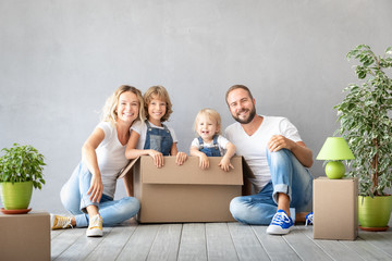 Family New Home Moving Day House Concept