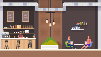 Modern Cafe Interior with Barista in Bar Counter. Happy Guy Company Sitting at Table and Hold Menu. Friends Meeting at Restaurant, Order Cappuchino or Tea and Bakery. People Character Illustration.