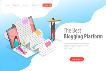 Isometric flat vector landing page for creative blogging, commercial blog posting, copywriting, content marketing strategy.