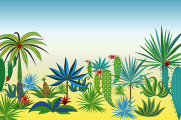 Landscape with different tropical plants and trees. Vector illustration.
