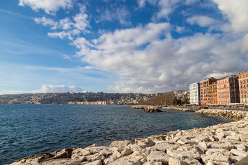 View of the gulf of Naples embankment in the center of city. Naples is the regional capital of Campania and the third-largest municipality. Italy.