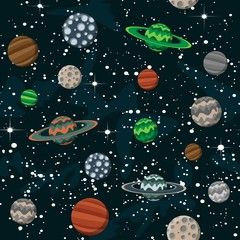 Comic cartoon space with planets and stars science night sky design background