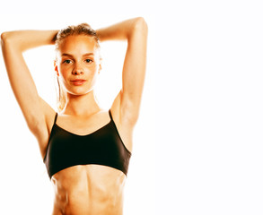young attractive woman wet long hair after workout isolated