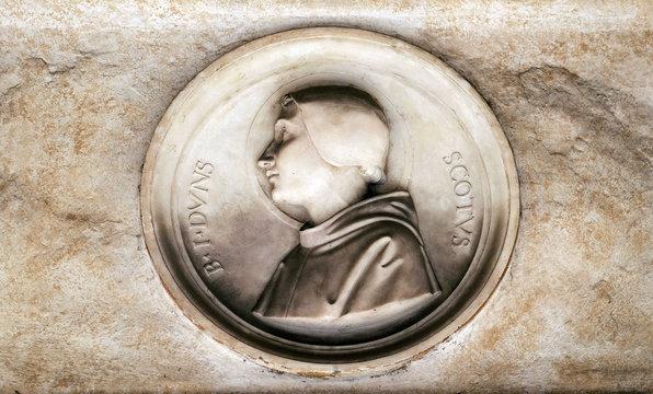Blessed Duns Scotus, bass relief in portico of church dei Santi XII Apostoli in Rome, Italy